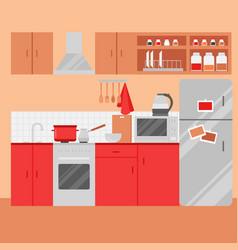 Flat kitchen interior with furniture vector