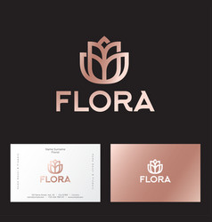 Flora logo boutique flowers home decor vector