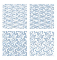 four sea waves seamless patterns vector image