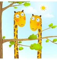 Fun Cartoon Baby Giraffe Animals in Wild for Kids vector