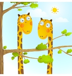 Fun cartoon bagiraffe animals in wild for kids vector