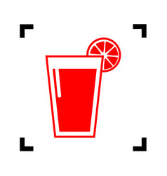 glass of juice icons red icon inside vector image