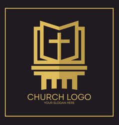 Gold cross and holy bible vector