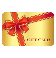 Golden gift card with red diagonal ribbon vector