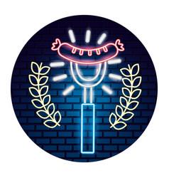 grilled sausage on fork food emblem neon vector image