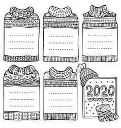 hand-drawn winter frames in shape sweaters vector image