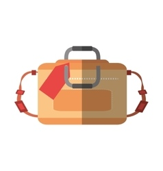 Hand luggage travel bag tourist shadow vector