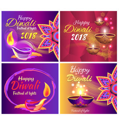 happy diwali festival of light 2018 set of posters vector image