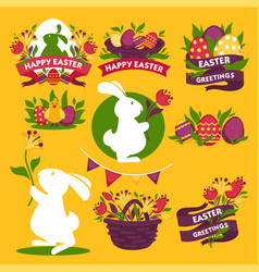 Happy easter greeting logo signs colorful flat vector