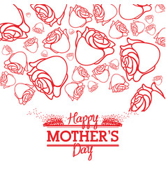 happy mothers day roses style card line vector image