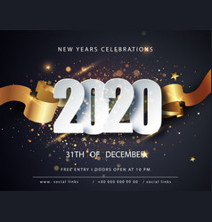 happy new 2020 year winter holiday greeting card vector image