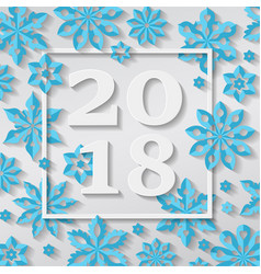 happy new year merry christmas 2018 snowflake vector image