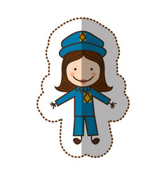 Happy woman police icon vector