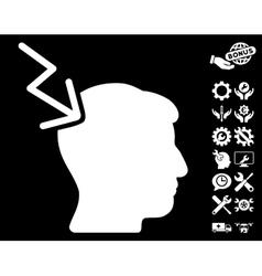 Head Electric Strike Icon with Tools Bonus vector
