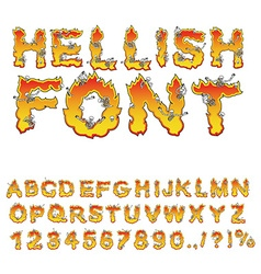 Hellish font inferno ABC Fire letters Sinners in vector