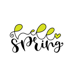 Hello spring handwritting badge typography icon vector