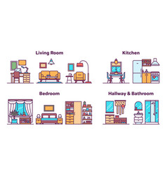 House rooms types color icons set vector