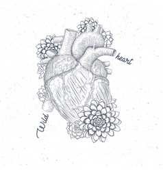 Human flora heart hipster tattoo art medical vector