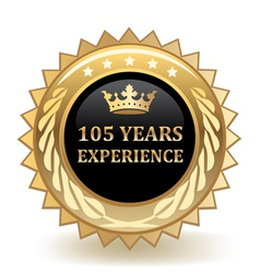Hundred And Five Years Experience Badge vector image