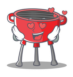 In love barbecue grill cartoon character vector