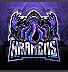 Kraken octopus esport mascot logo design vector