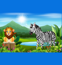 landscape views of mountains with wild animal vector image