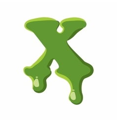 Letter X made of green slime vector image