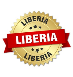 Liberia round golden badge with red ribbon vector image
