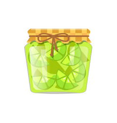 Lime or lemon home cooked jam or marmalade in jar vector