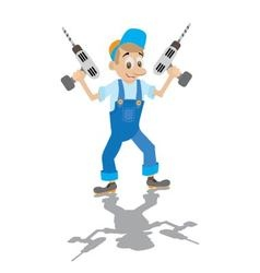 Locksmith holds the electric drill vector