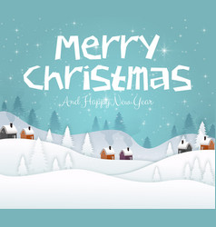 merry christmas and happy new year 2019 on blue sk vector image