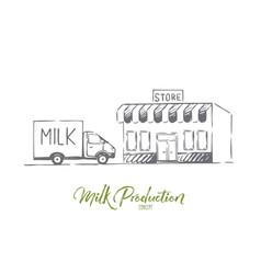 milk delivery fresh bottle shop concept vector image