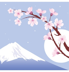 Mount fuji moon and branches of sakura vector