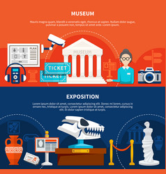 Museum exposition horizontal banners vector
