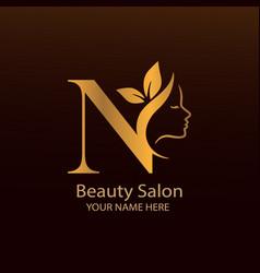 N beauty salon logo image vector