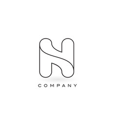 n monogram letter logo with thin black monogram vector image