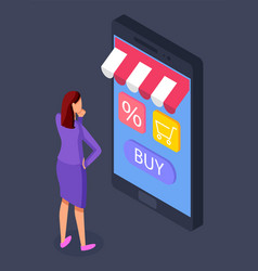 online store concept woman buyer selects a vector image