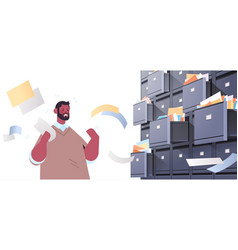 Overworked businessman searching documents in vector