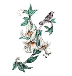 Painted bouquet of garden flowers with bird on vector
