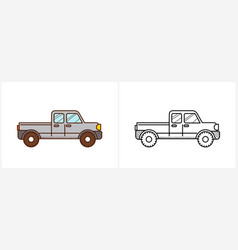 pickup coloring page for kids car side view vector image