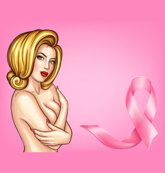 Pop art woman with pink ribbon vector