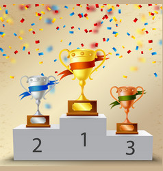 realistic pedestal with trophies composition vector image
