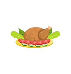 Roasted turkey on a plate with garnish of vector