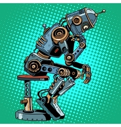 Robot thinker artificial intelligence progress vector
