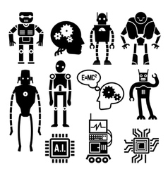 Robots cyborgs androids and artificial vector