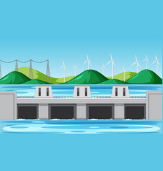 Scene with water dam and wind turbines on the vector