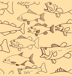 seamless pattern with fish cod fish bass fish vector image