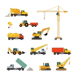 Set heavy construction machines vector