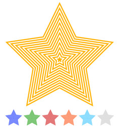 Set of flat contour star icon in 7 colors vector