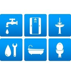 Set plumbing icons vector